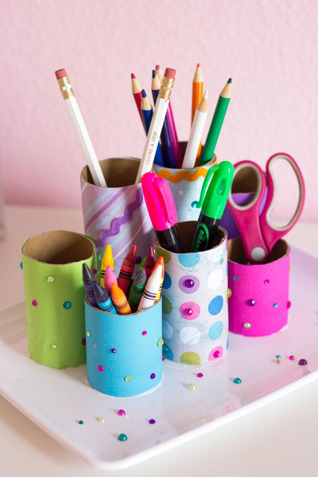Make this fun kids desk organizer with toilet paper rolls!