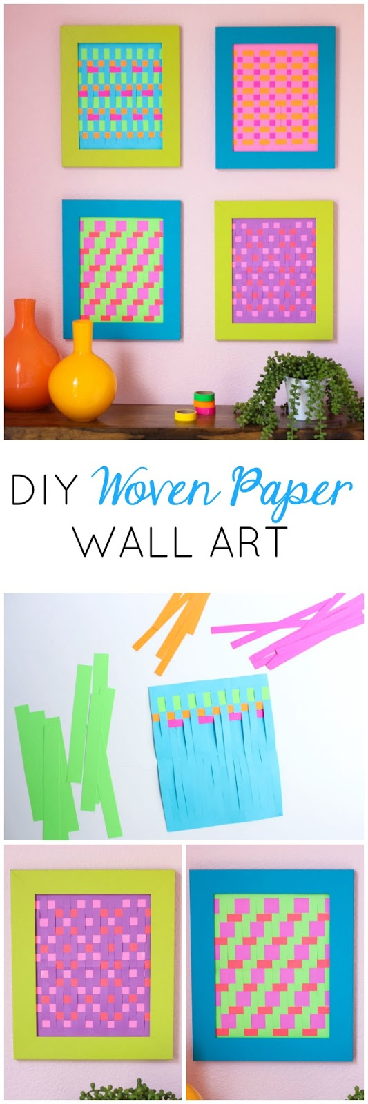 How to make woven paper art - a fun take on the classic paper weaving craft!