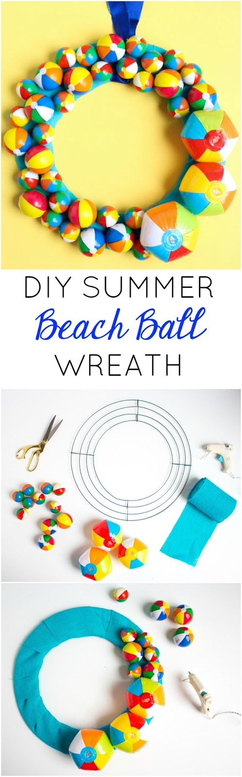 Such a fun summer wreath! Make this with a variety of mini beach balls - perfect pool party decoration too!