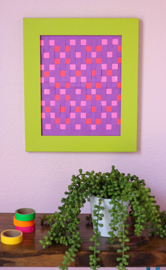 Use paper weaving to make colorful geometric wall art - a grown-up take on a childhood craft!