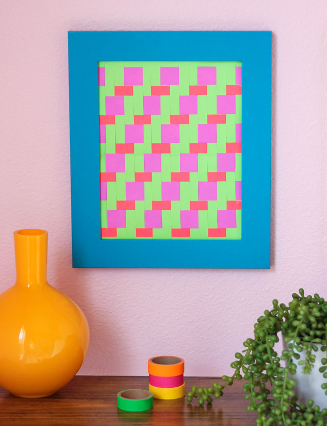 Woven paper art - such a fun twist on a summer camp craft!