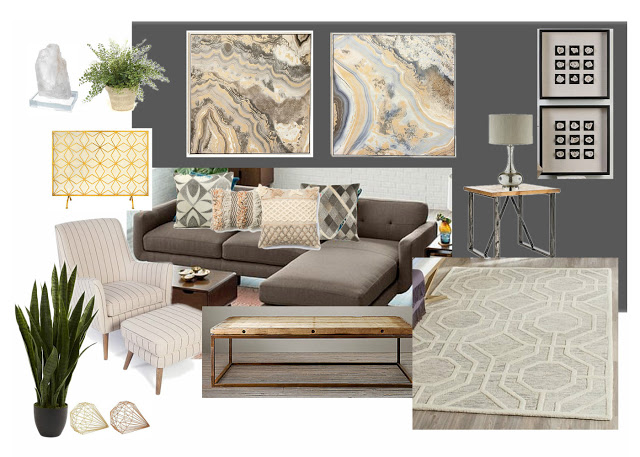 Modern geode-inspired living room design with hayneedle.com