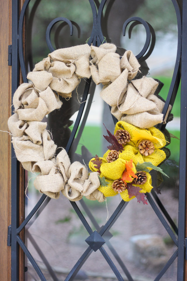 Simple fall burlap wreath - make in under 30 minutes!
