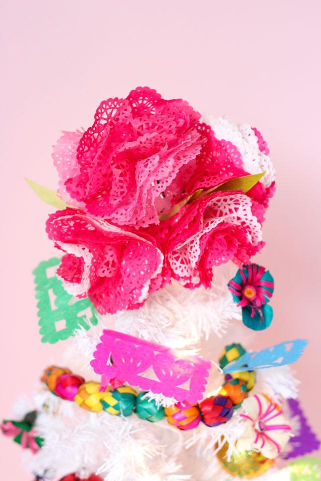 Tissue paper flower Christmas tree topper