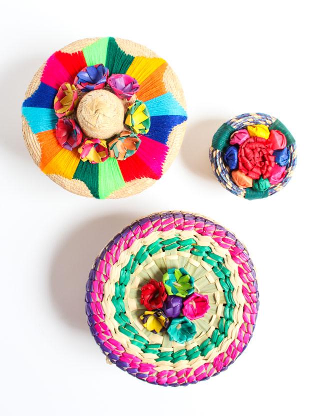 Colorful Mexican tortillero tortilla holder baskets