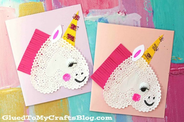 DIY Unicorn Valentines cards with paper heart doilies