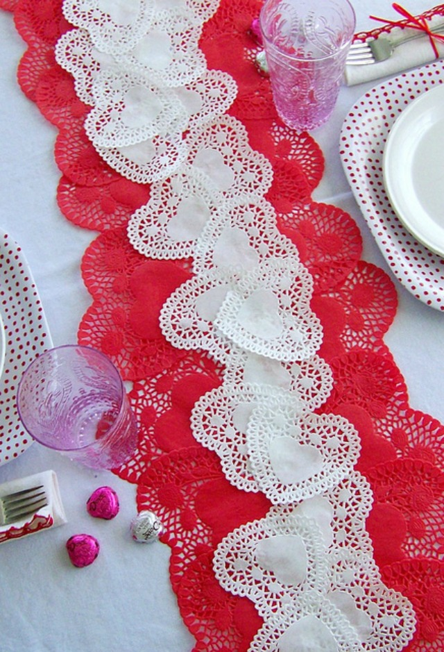 Paper heart doily table runner for Valentine's Day party