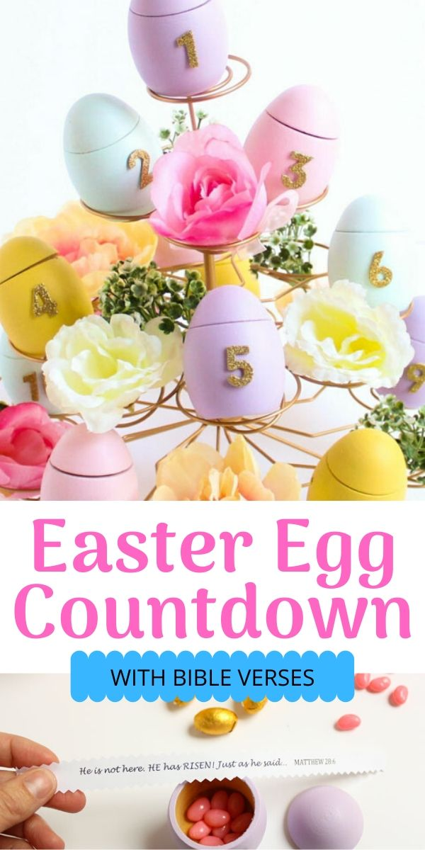 Easter egg countdown with Bible verses