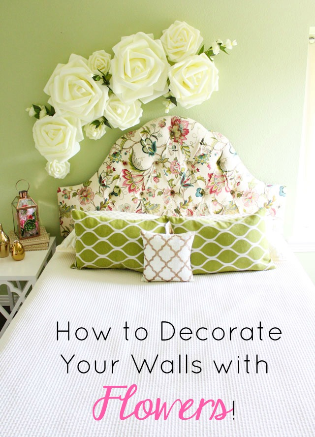 Give your bedroom a spring update with this floral wall decor! #floralwalldecor #floraldecor #flowerdecor