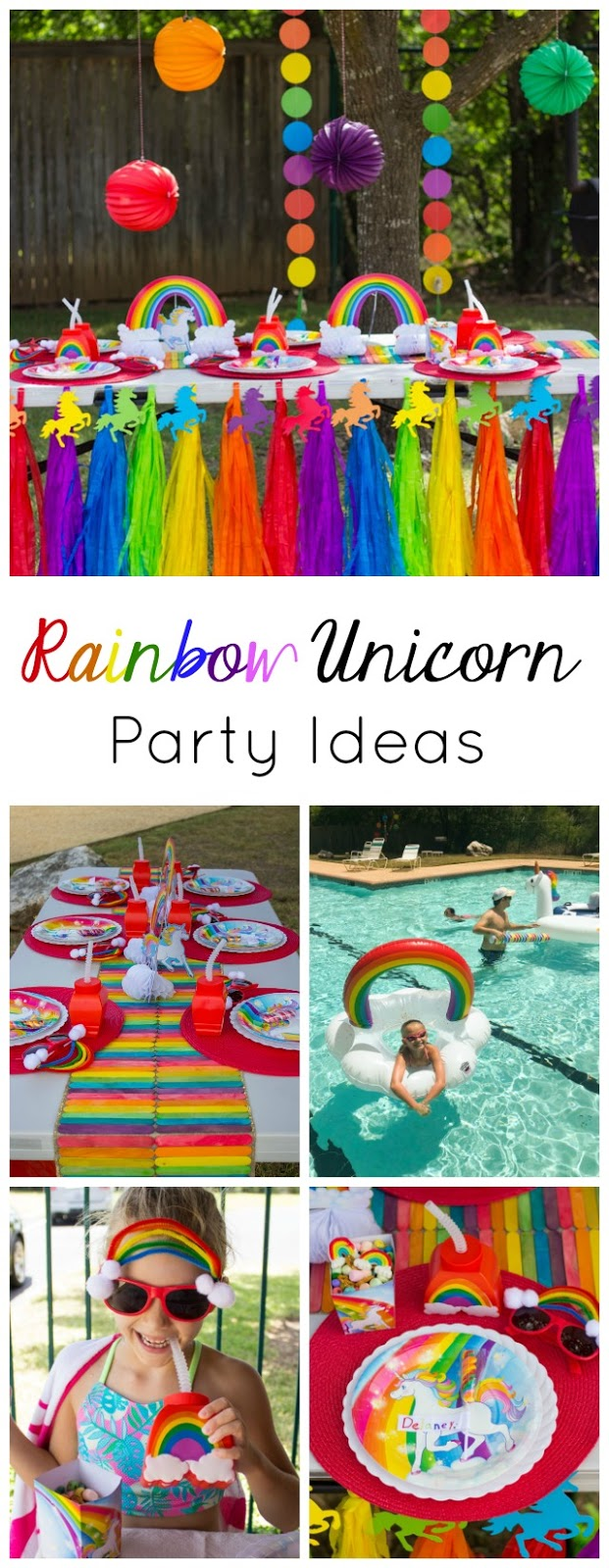 Lots of simple ideas for a rainbow unicorn birthday pool party! #unicornparty #rainbowparty #unicornbirthday