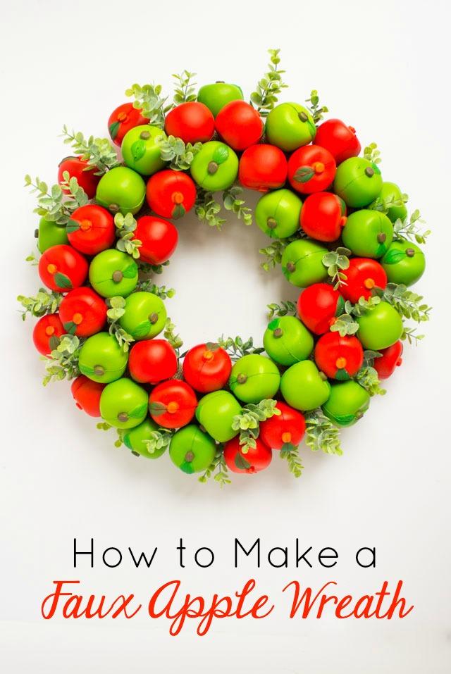 Make a fall apple wreath using faux apples! #fallwreath #applewreath