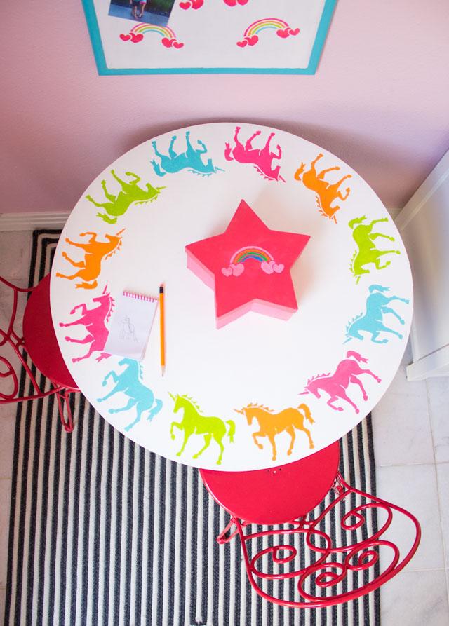 Create a kids workspace decorated with rainbow and unicorn stencils! #unicorndecor #rainbowdecor #kidstable #corkboard
