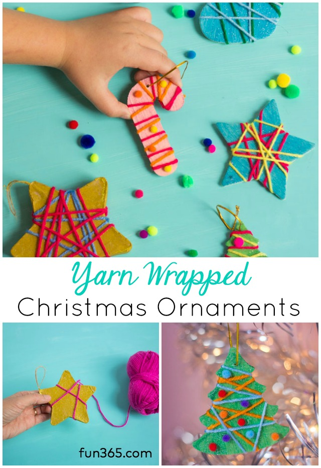 These yarn-wrapped ornaments are the perfect kids Christmas ornament craft idea! #christmasornament #diyornament #kidschristmascraft #kidschristmascrafts #kidschristmasornaments