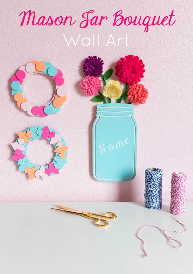 Mason jar bouquet decor idea