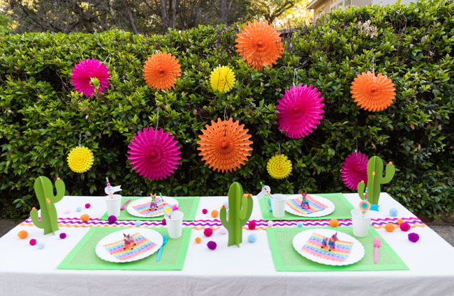 Colorful fiesta party decorations