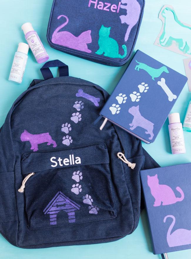 DIY School Supplies using Martha Stewart stencils