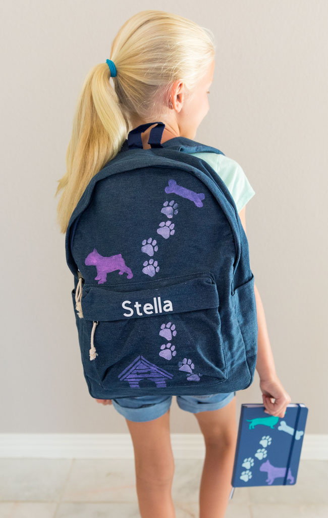 DIY backpack for kids with dog stencils