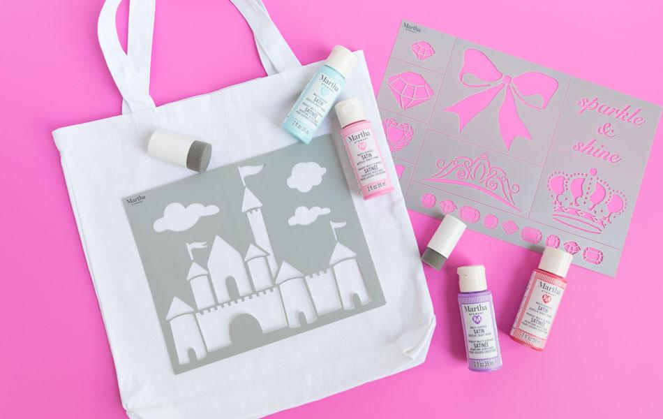 Supplies for princess trick or treat bag