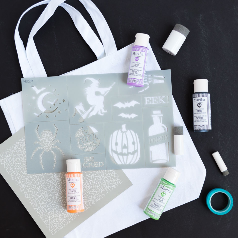 Supplies for stenciled trick-or-treat bags