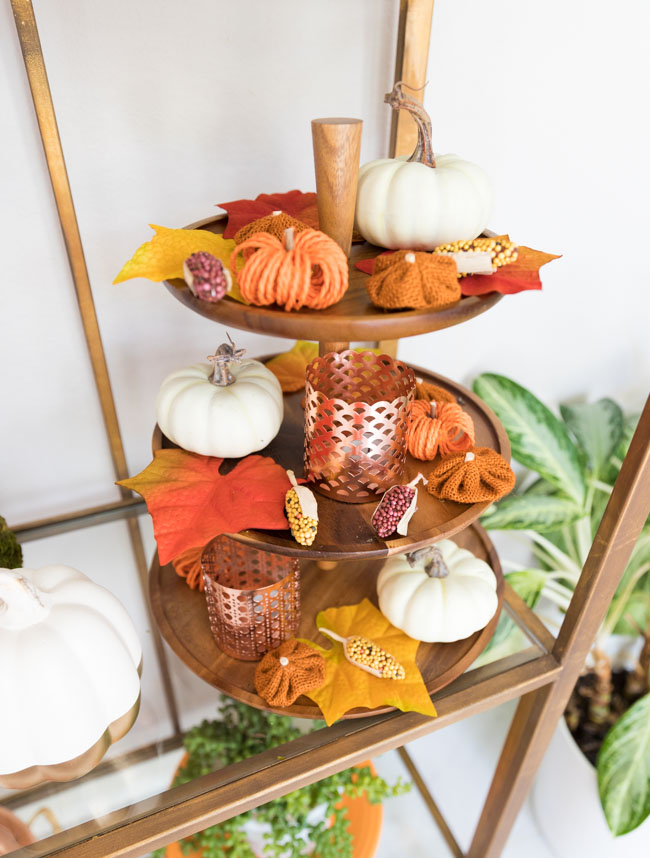 Fall decorated 3 tiered serving platter