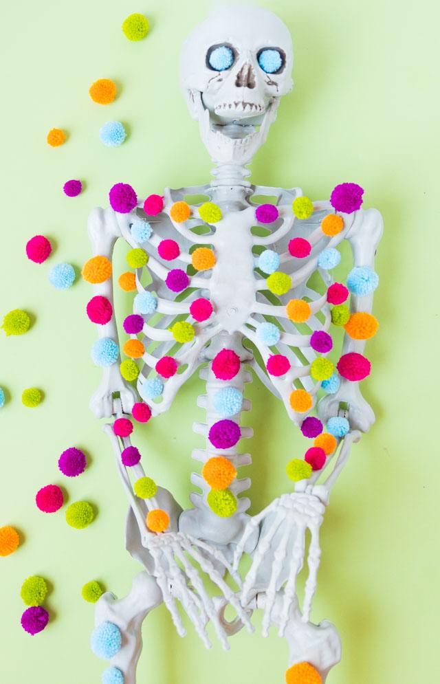 Pom-pom decorated Halloween skeleton