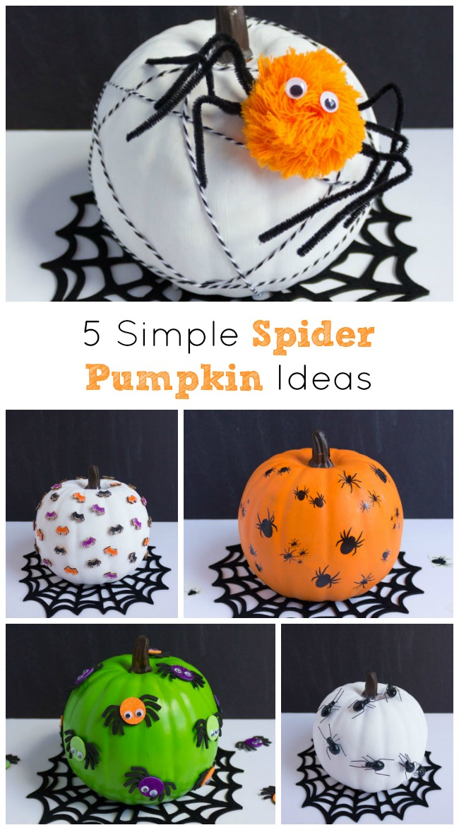 5 Simple Spider Pumpkin Ideas