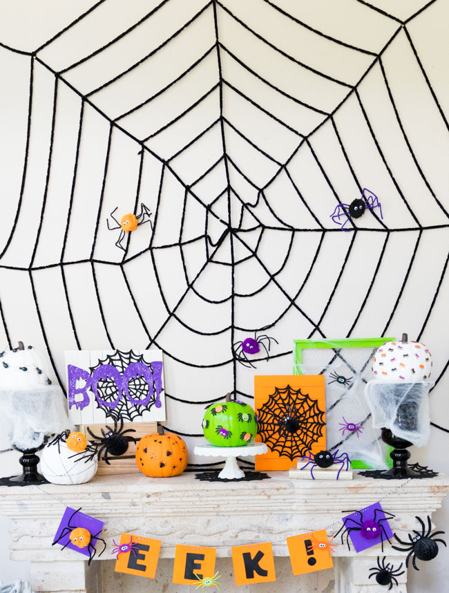Giant spider web with pom-pom spiders