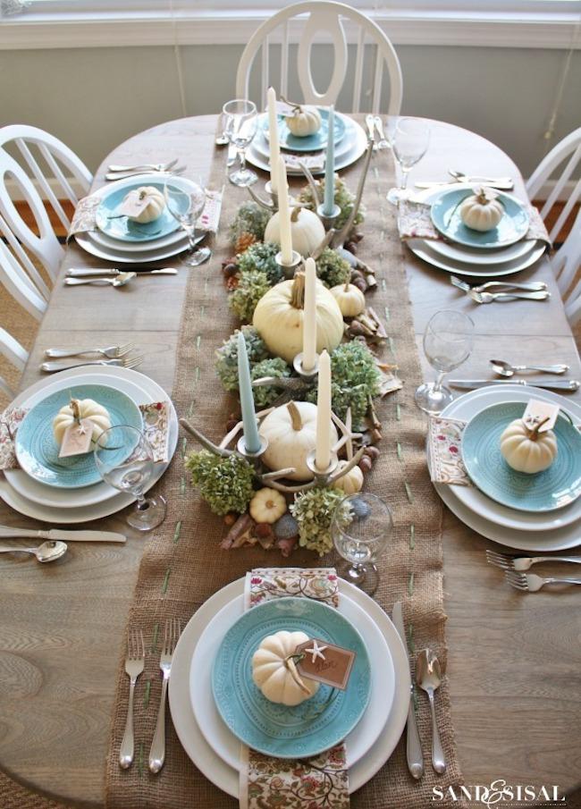 Beach themed Thanksgiving table