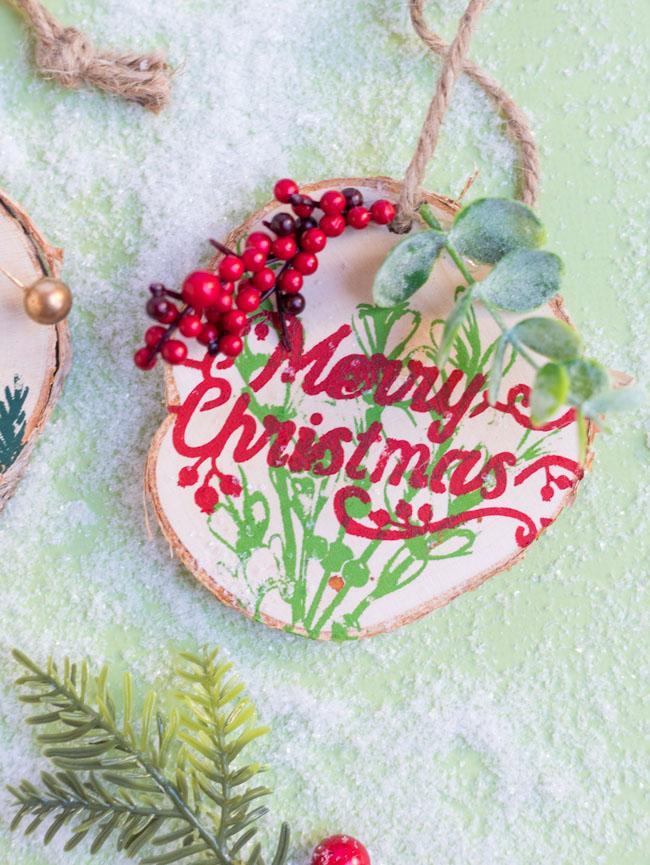 Merry Christmas wood slice ornament