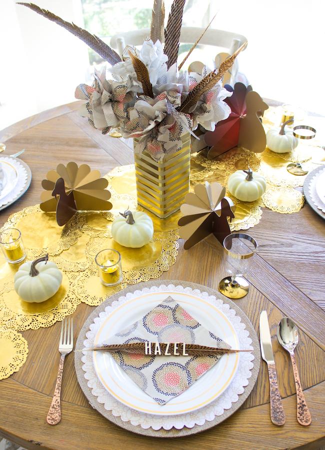 Elegant gold Thanksgiving table