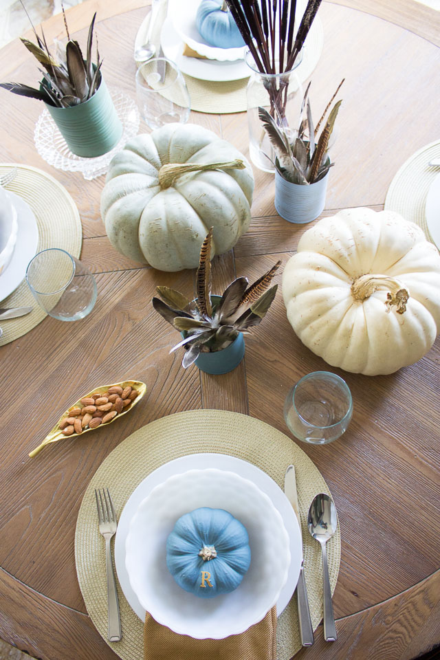 Rustic feather Thanksgiving table
