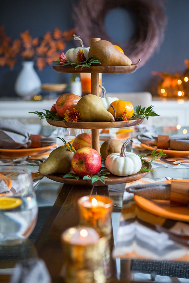 Tiered platter with fruit on Thanksgiving table
