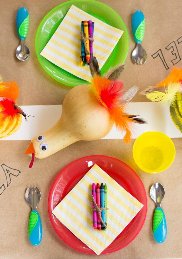 Gourd turkey themed Thanksgiving kids table