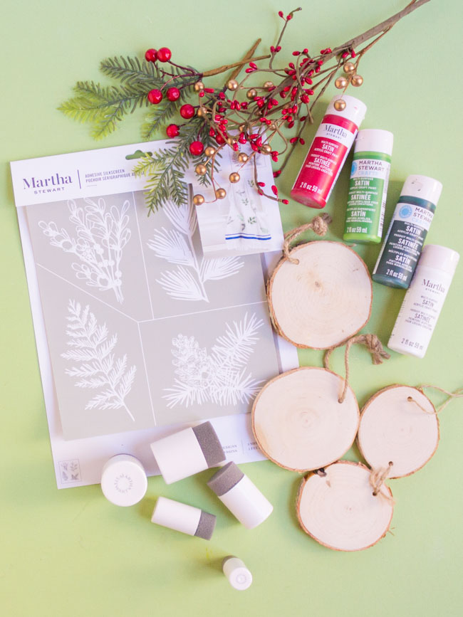 Martha Stewart stencils and paints for Christmas crafts