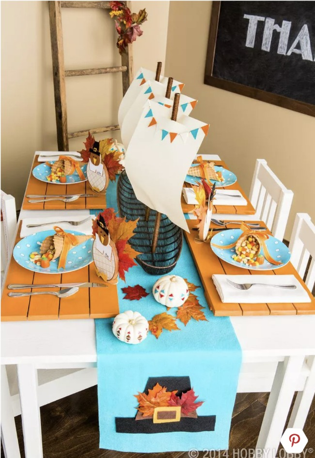 Thanksgiving Kids Table with Mayflower Centerpiece