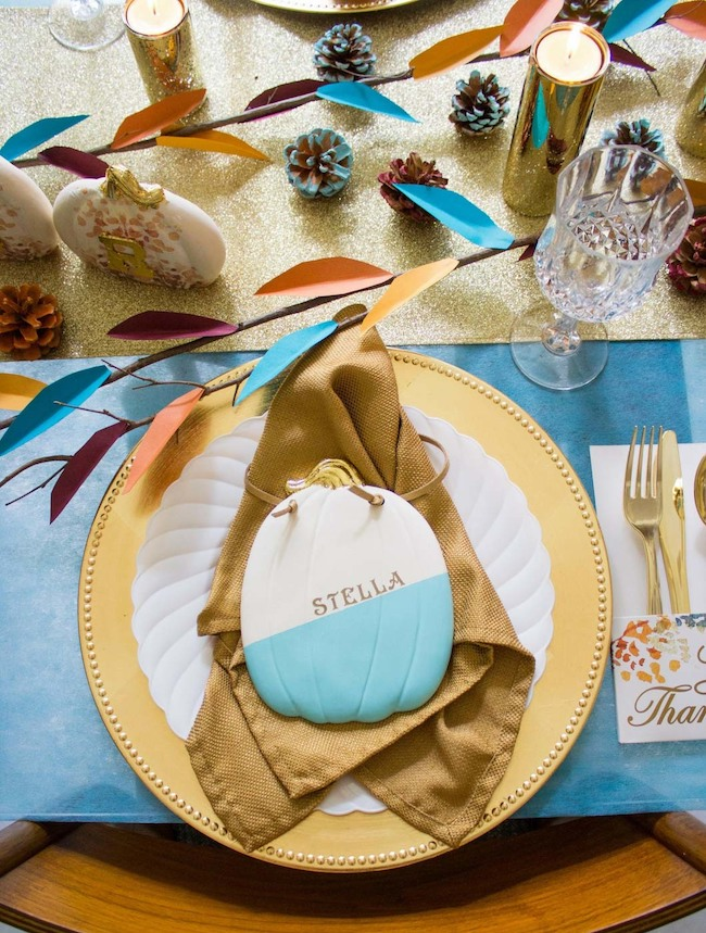 Turquoise and gold Thanksgiving table decor