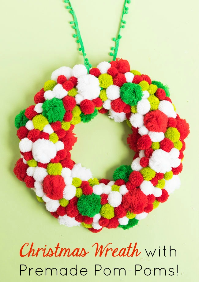 Yarn pom-pom Christmas wreath