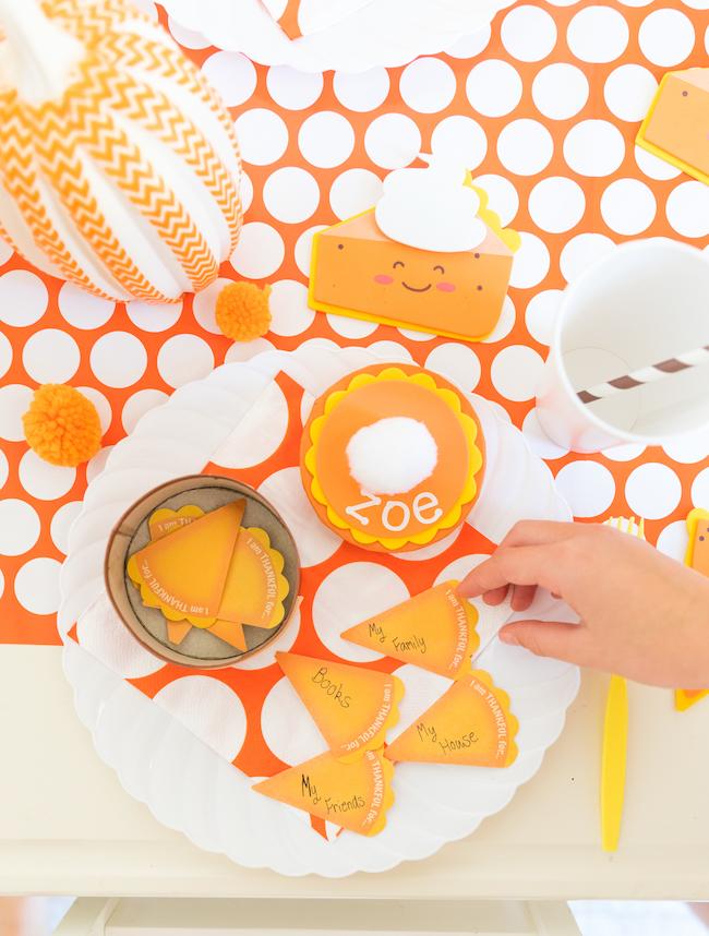 Pumpkin pie themed Thanksgiving kids table