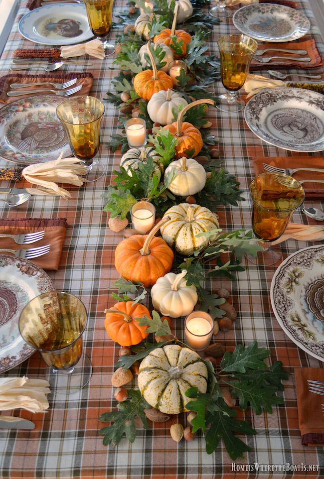 Pumpkins and Plaid Thanksgiving Table