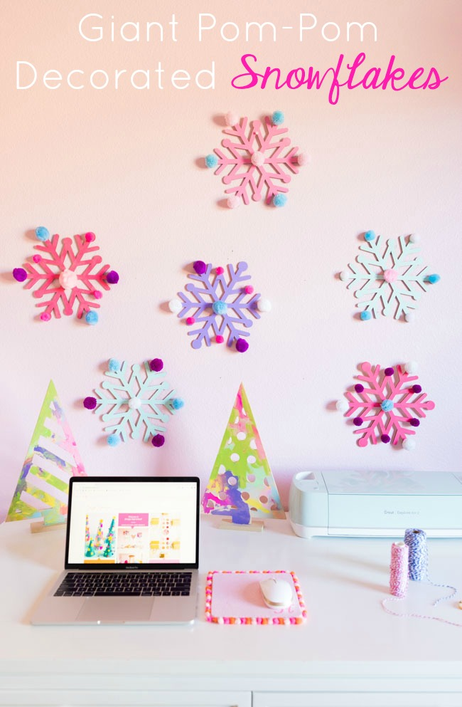 DIY Painted Snowflakes with Pom-Poms