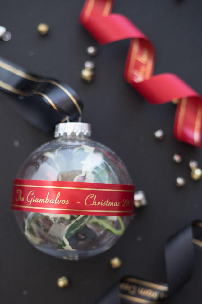 DIY Personalized Ribbon Christmas Ornament