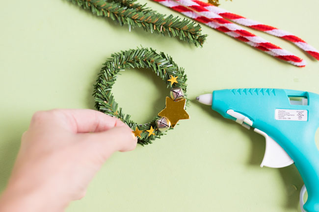 Adding stars to a mini wreath ornament