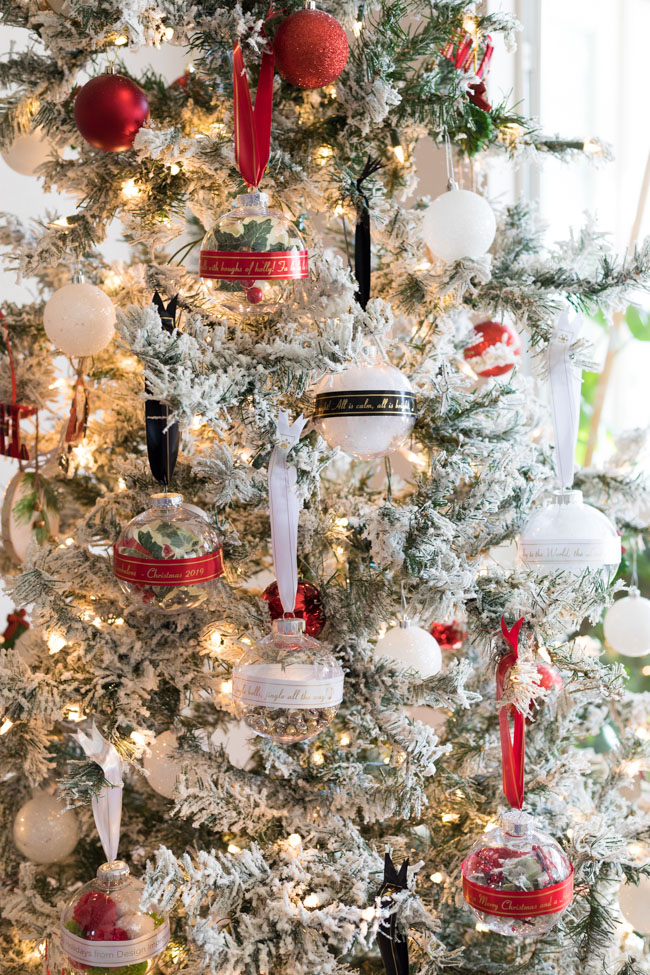 Tree filled with ribbon ornaments