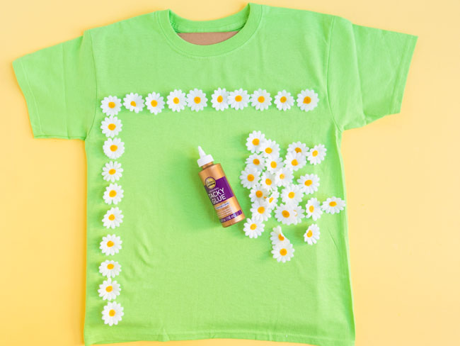 Making 10x10 grid of flowers on 100th day shirt