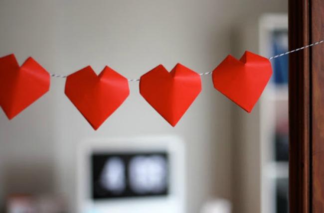 3D Paper Heart Garland