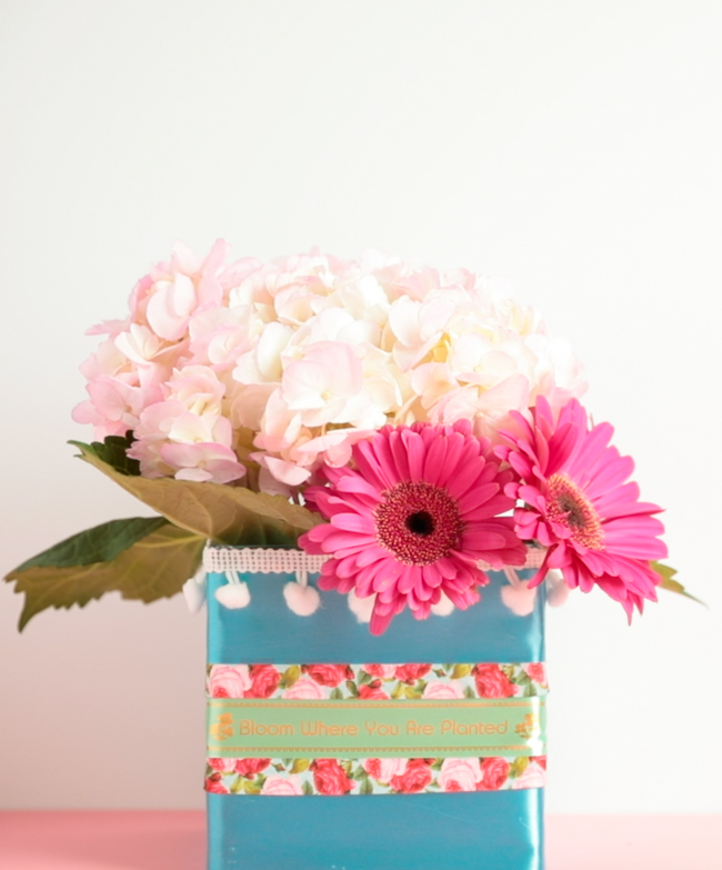 DIY Ribbon Vases with P-Touch Embellish ELITE Label Printer