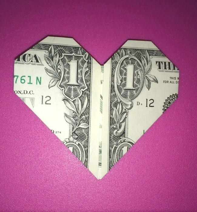 Easy Origami Heart Dollar