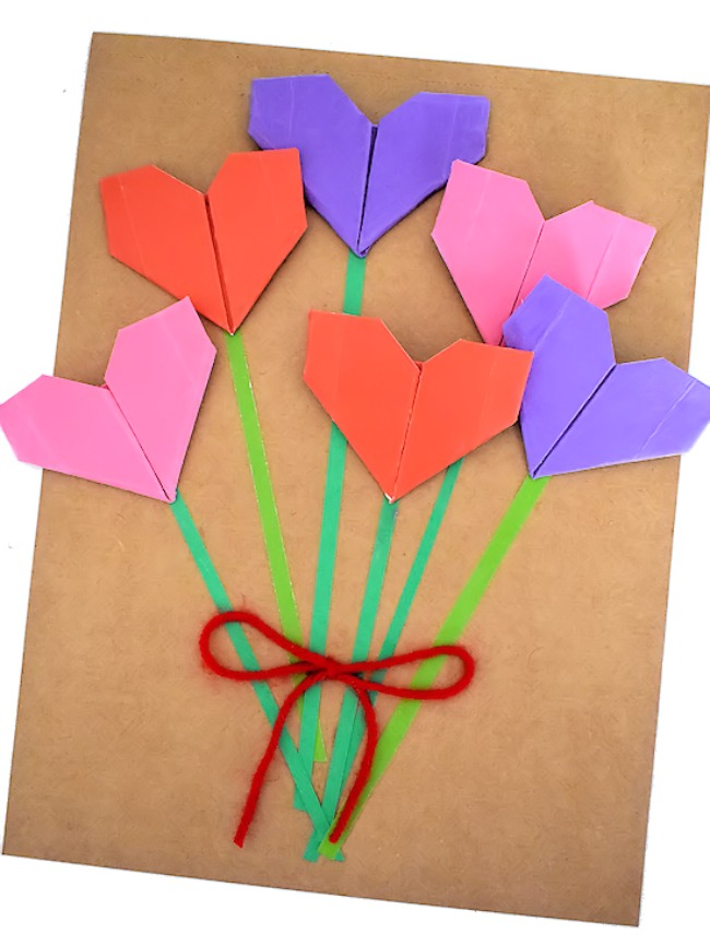 Origami Heart Bouquet Craft