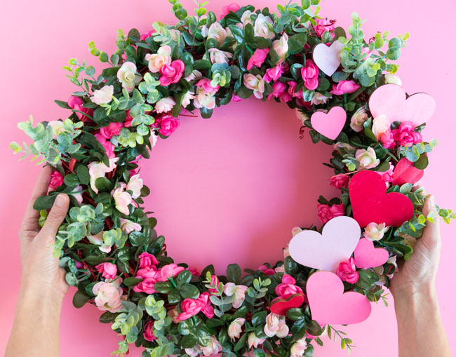 Pink flower wreath tutorial