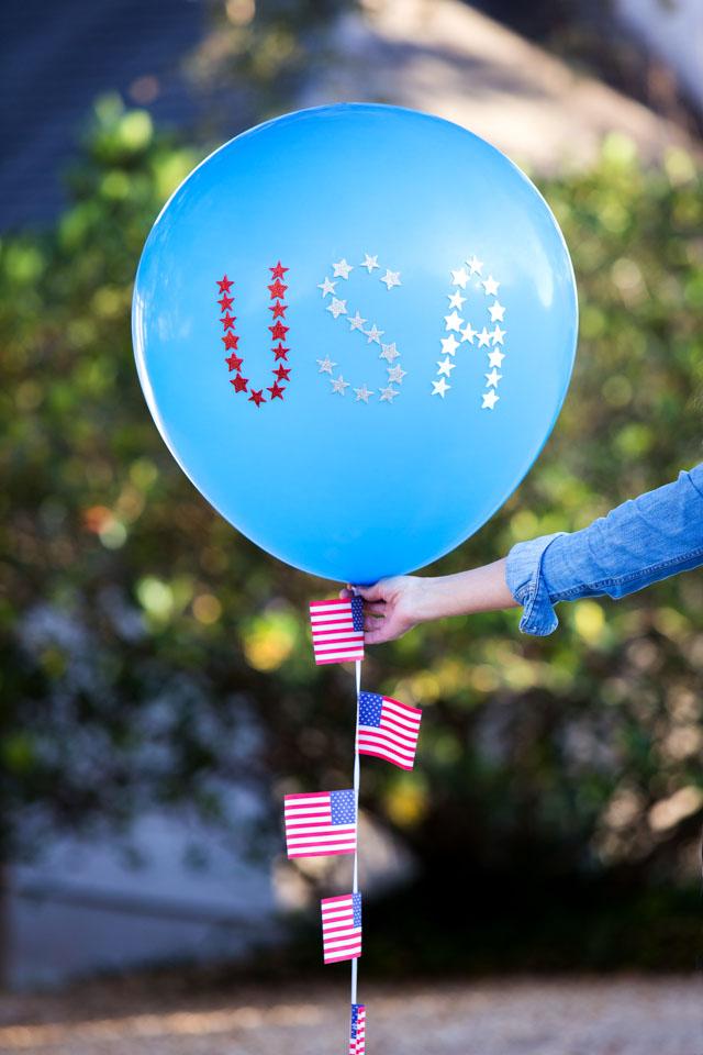 DIY USA Balloon Idea for 4th of July